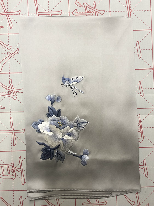 Double sided silk embroidery scarf - peony butterfly silver