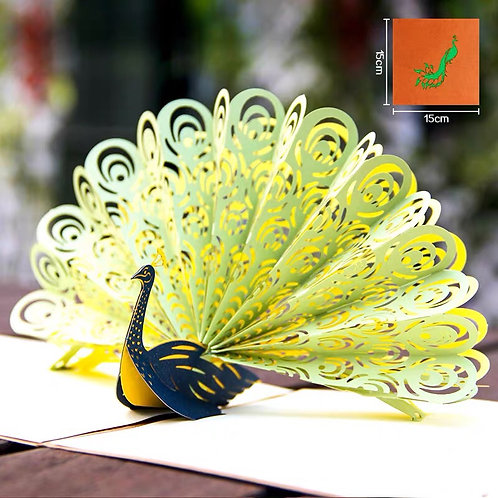 Peacock pop up card style 1