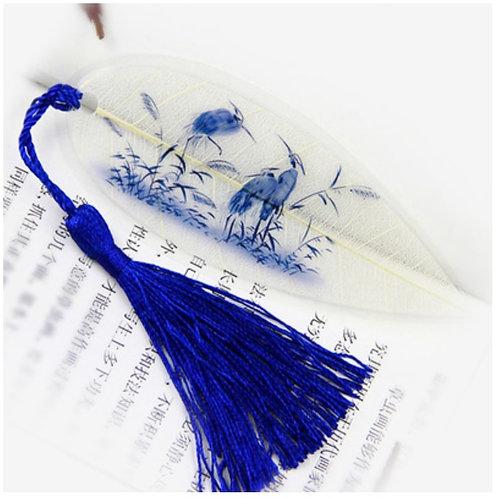 Leaf bookmark blue crane