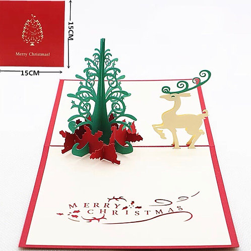 Reindeer with Christmas tree pop up card