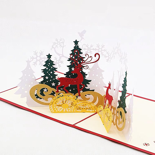 Reindeer with snow pop up cards