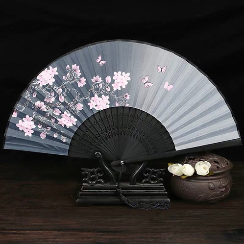 Elegant Fan - pink flowers B