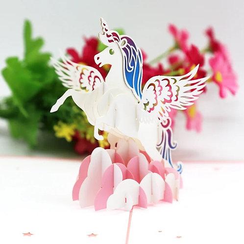 Pink unicorn pop up card