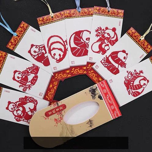 Panda paper cut bookmark