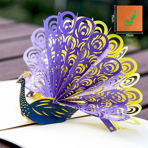 Peacock pop up card style 2