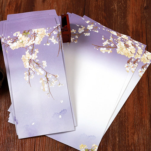 1 Envelope Purple Flowers with 2 matching paper