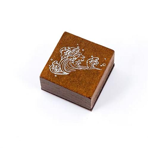 Oriental Wood Rubber stamp -Waves