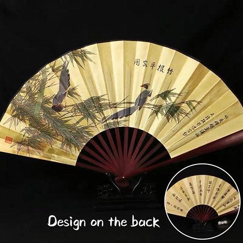 Large Fan - birds & bamboo