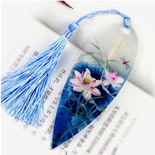 Leaf bookmark Lotus flower with dragonfly