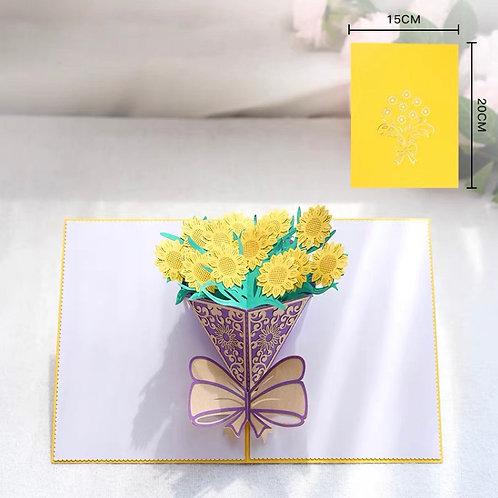 Sunflower bouquet pop up card style 3