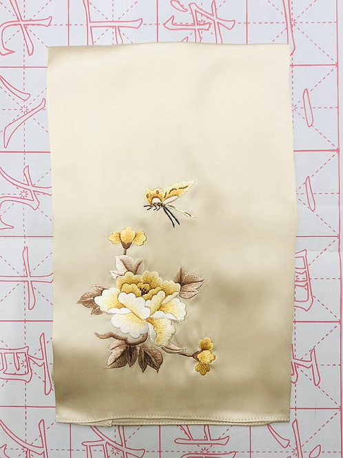 Double sided silk embroidery scarf - peony butterfly gold