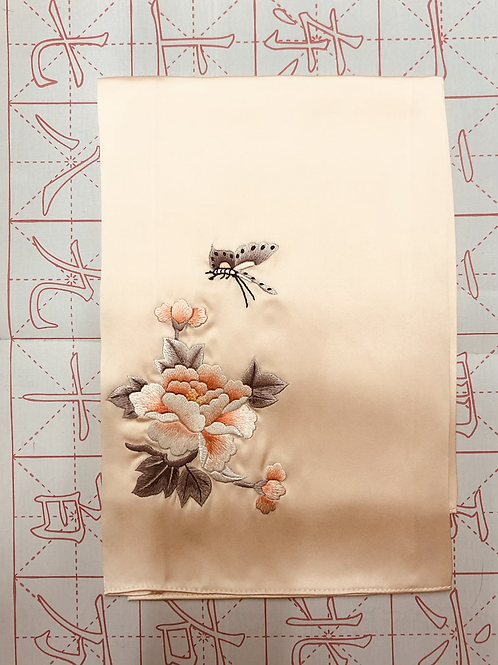 Double sided silk embroidery scarf - peony butterfly