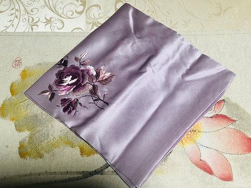 Silk embroidery handkerchief (purple)