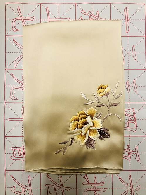 Double sided silk embroidery scarf - peony gold