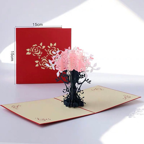 Pink flower pop up card red cover