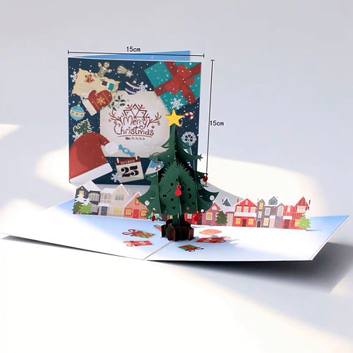 Colourful Christmas tree pop up cards - Christmas atmosphere