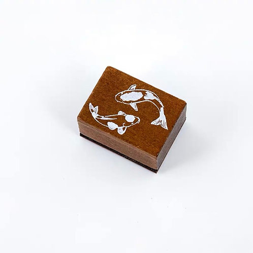 Wood Rubber Stamp - Lucky fish