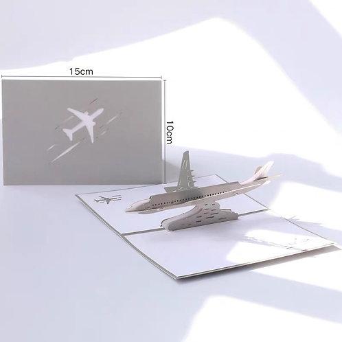 Silver airplane plane pop up card