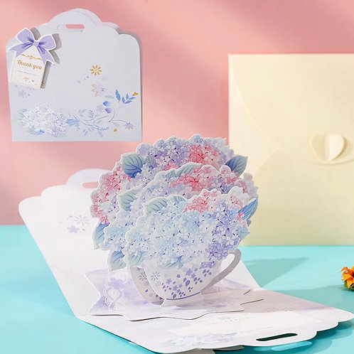 Flower handbag pop up card-blue