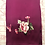 Thumbnail: Double sided silk embroidery scarf - peony butterfly dark red