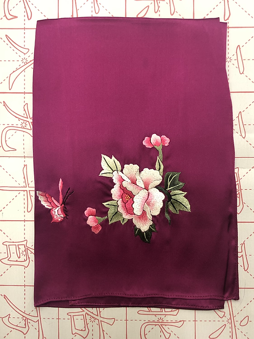 Double sided silk embroidery scarf - peony butterfly dark red