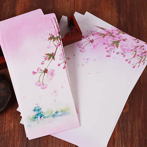 1 Envelope Cherry Blossom with 2 matching paper