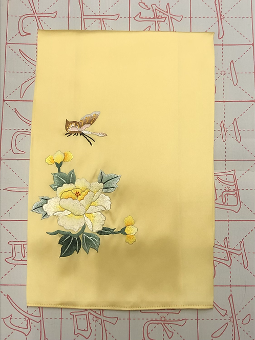 Double sided silk embroidery scarf - peony butterfly yellow