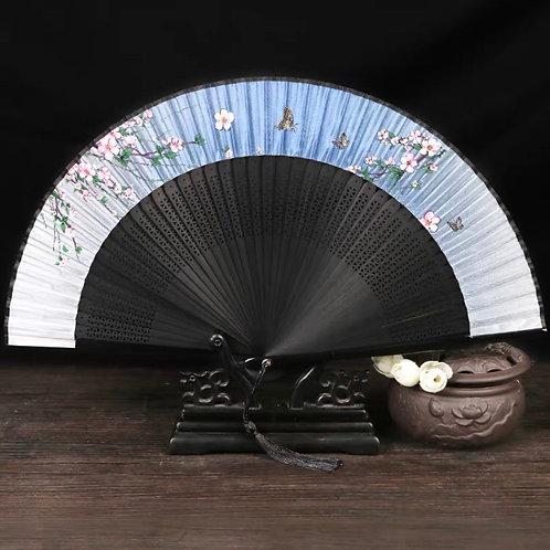 Elegant Fan - Blue+butterfly