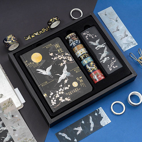 C&C Washi tape with notebook set - Black