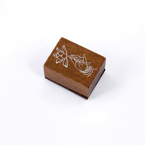 Oriental Wood Rubber stamp - Lotus flower