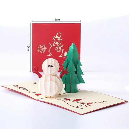 Snowman with Christmas tree pop up cards