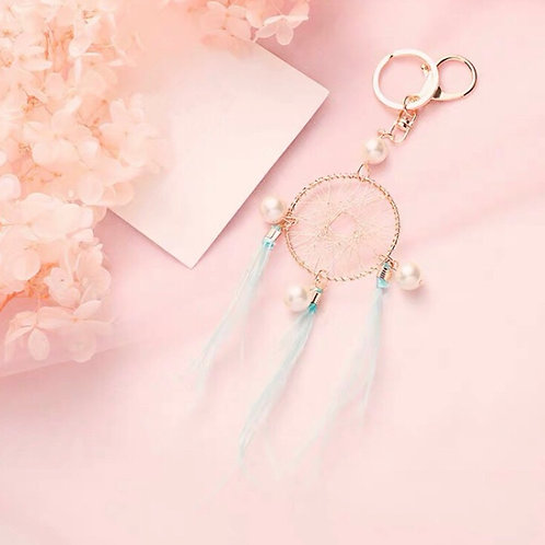 Dream catcher key ring green