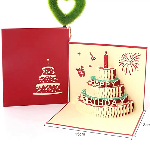 Birthday card(red cake)