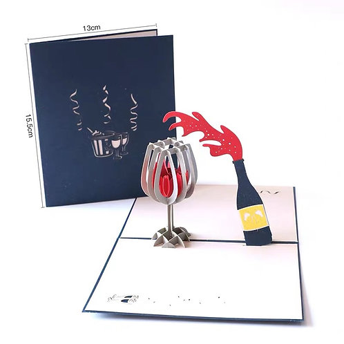Red wine pop up card