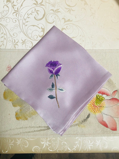 Silk embroidery handkerchief (rose)
