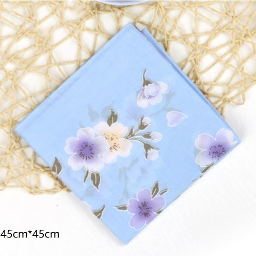 Cotton Handkerchief (Blue Cherry blossom)