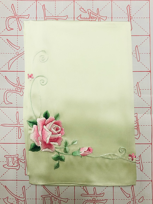 Double sided silk embroidery scarf - rose green