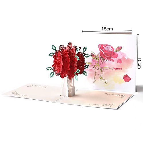 Colourful roses pop up card