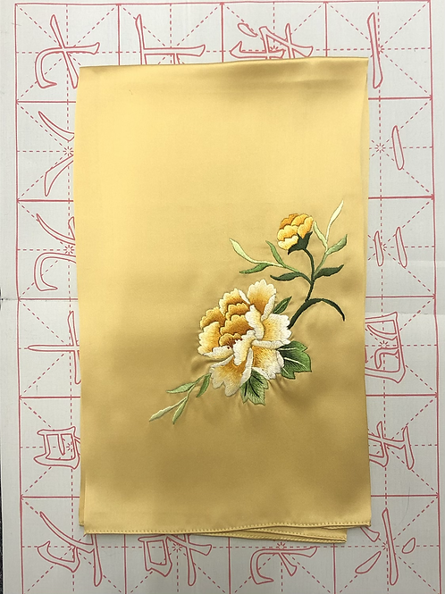 Double sided silk embroidery scarf - peony yellow
