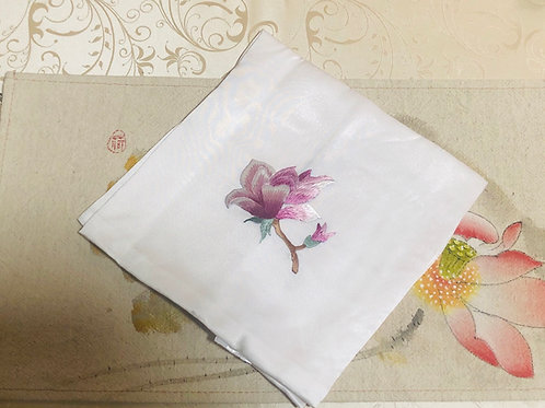 Silk embroidery handkerchief (white )