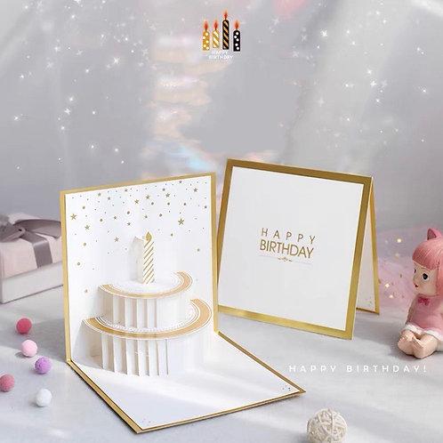 Birthday White cake pop up card