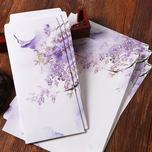 1 Envelope Purple view with 2 matching paper