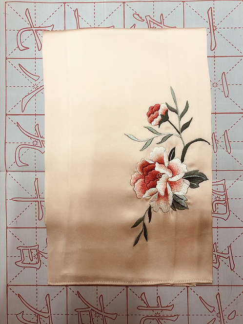 Double sided silk embroidery scarf - peony peach