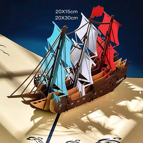 Boat pop up card