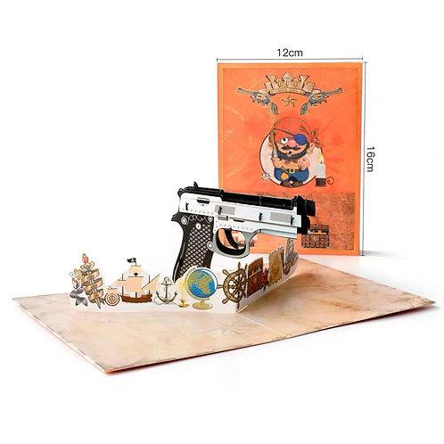 Toy gun pop up card