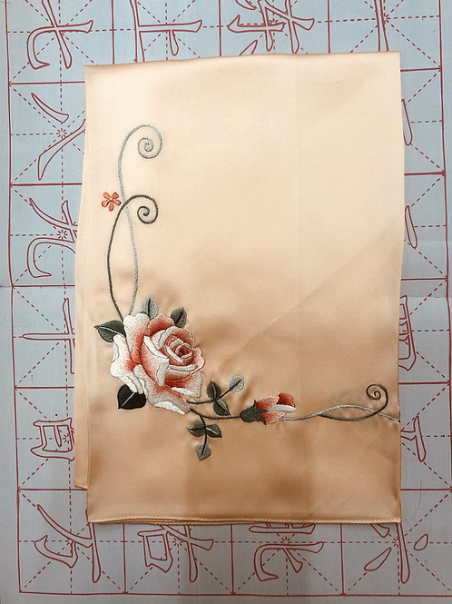 Double sided silk embroidery scarf - rose peach