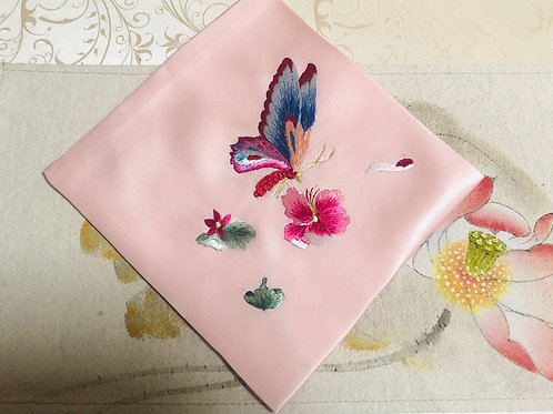 Silk embroidery handkerchief (butterfly )