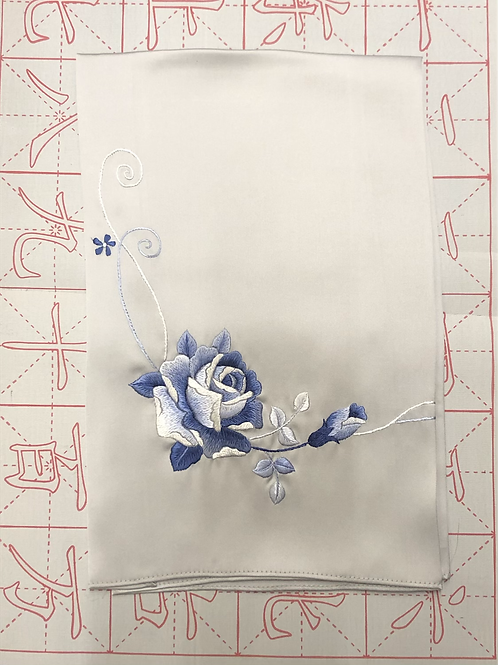 Double sided silk embroidery scarf - rose silver