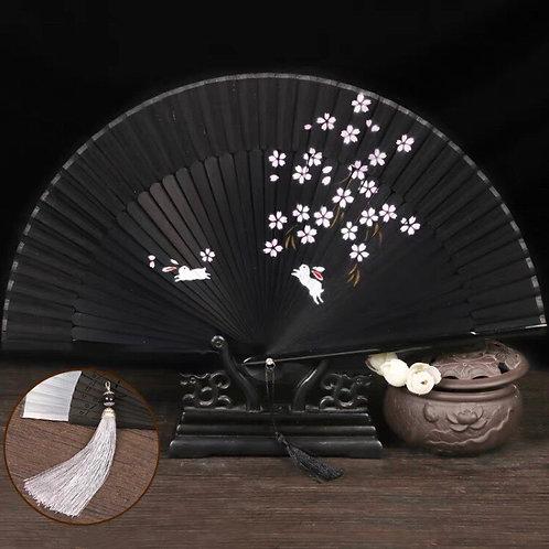 Elegant Fan - Black + rabbit