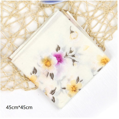 Cotton Handkerchief (Yellow cherry blossom)